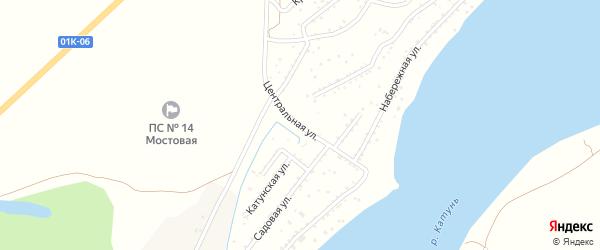 Центральная улица на карте садового некоммерческого товарищества Катуня с номерами домов