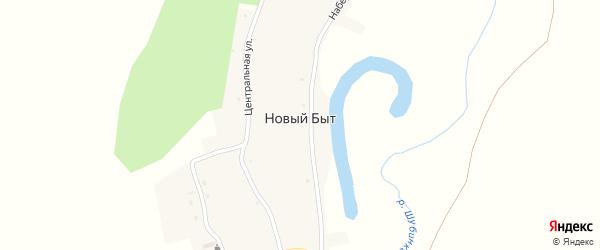 Центральная улица на карте поселка Нового Быта с номерами домов