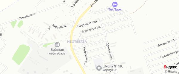 Нефтяной переулок на карте Бийска с номерами домов
