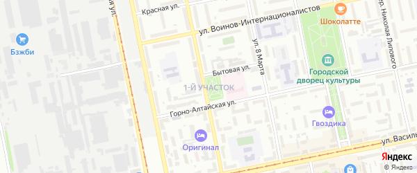 1-й квартал на карте садового некоммерческого товарищества Бии с номерами домов