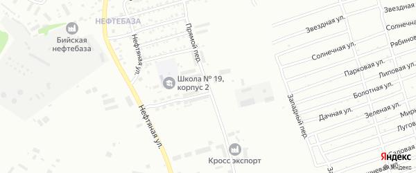 Прямой переулок на карте Бийска с номерами домов