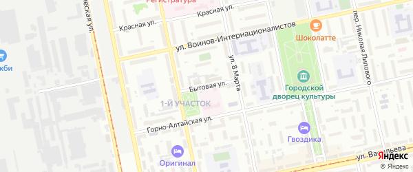 Бытовая улица на карте Бийска с номерами домов