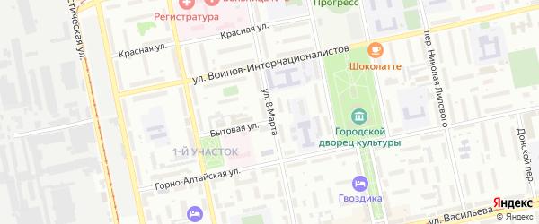 Улица 8 Марта на карте Бийска с номерами домов