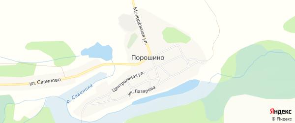 Карта села Порошино в Алтайском крае с улицами и номерами домов