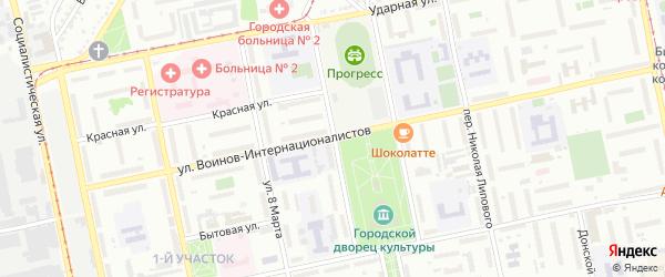 Дружный переулок на карте Бийска с номерами домов