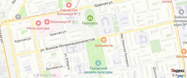 Улица Воинов-Интернационалистов на карте Бийска с номерами домов