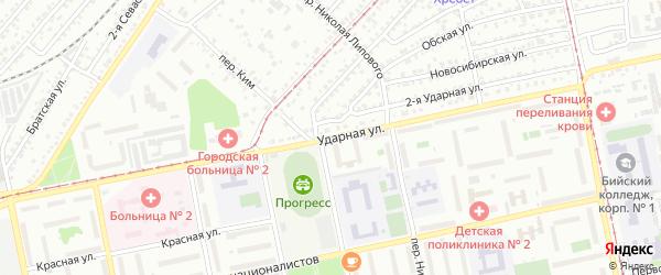 Ударная улица на карте Бийска с номерами домов
