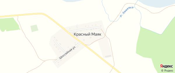 Шоссейная улица на карте поселка Красного Маяка с номерами домов
