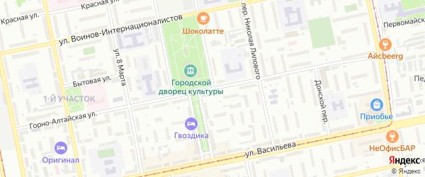Омский переулок на карте Бийска с номерами домов