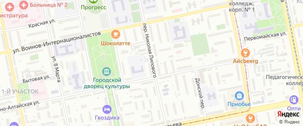Переулок Николая Липового на карте Бийска с номерами домов