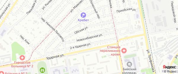 Новосибирская улица на карте Бийска с номерами домов