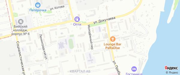 Молодежный переулок на карте Бийска с номерами домов