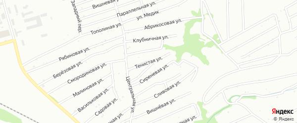 Тенистая улица на карте садового некоммерческого товарищества Полета с номерами домов