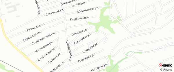 Сиреневая улица на карте садового некоммерческого товарищества Монтажника с номерами домов