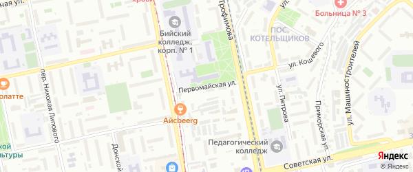 Первомайская улица на карте Бийска с номерами домов