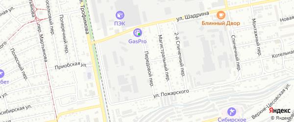 Передовой переулок на карте Бийска с номерами домов