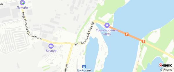 Улица Песчаный карьер на карте Бийска с номерами домов