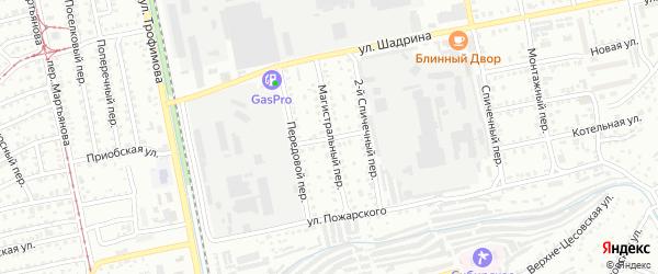 Магистральный переулок на карте Бийска с номерами домов