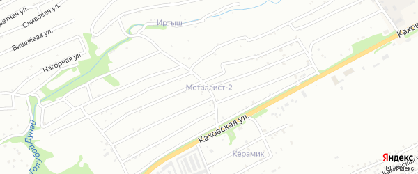 Яблоневая улица на карте садового некоммерческого товарищества Металлиста-2 с номерами домов