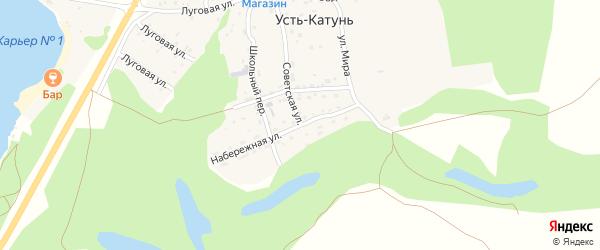 Набережная улица на карте поселка Усть-Катунь с номерами домов