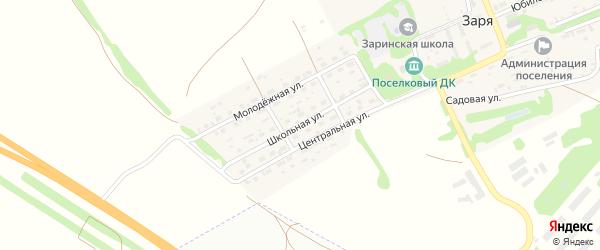 Школьная улица на карте поселка Зари с номерами домов
