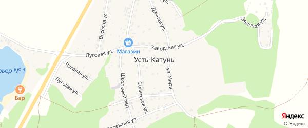 Лесная улица на карте поселка Усть-Катунь с номерами домов