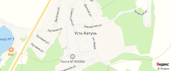 Дачная улица на карте поселка Усть-Катунь с номерами домов