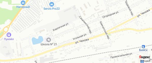 Западный переулок на карте Бийска с номерами домов