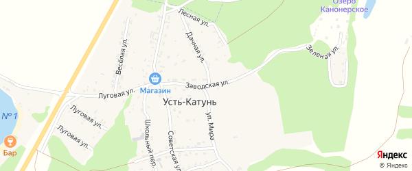 Заводская улица на карте поселка Усть-Катунь с номерами домов