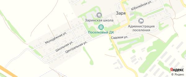 Центральная улица на карте поселка Зари с номерами домов