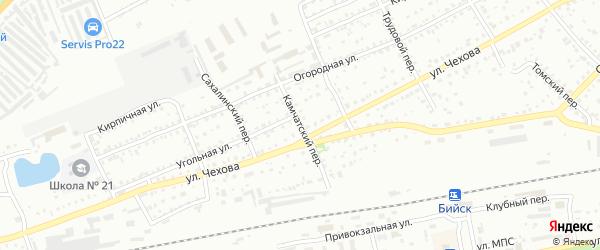 Камчатский переулок на карте Бийска с номерами домов