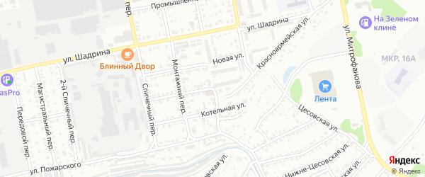 Тихий переулок на карте Бийска с номерами домов