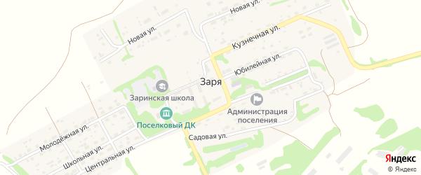 Мирный переулок на карте поселка Зари с номерами домов