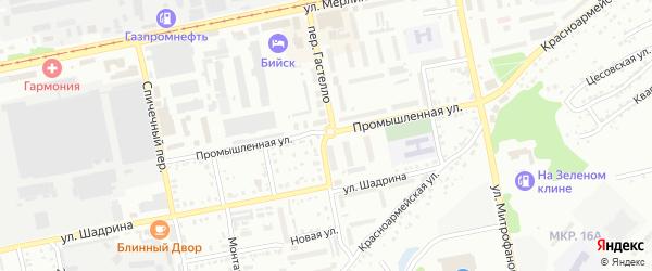 Переулок Николая Гастелло на карте Бийска с номерами домов