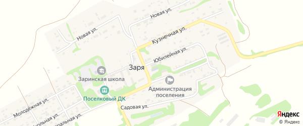 Юбилейная улица на карте поселка Зари с номерами домов