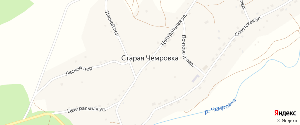 Центральная улица на карте села Старой Чемровки с номерами домов