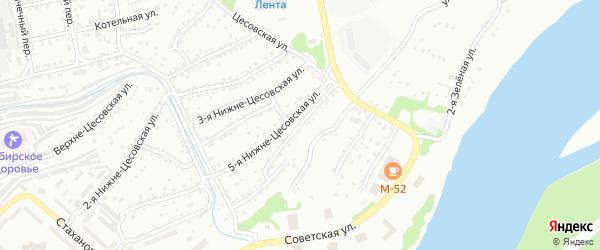 6-я Нижне-Цесовская улица на карте Бийска с номерами домов