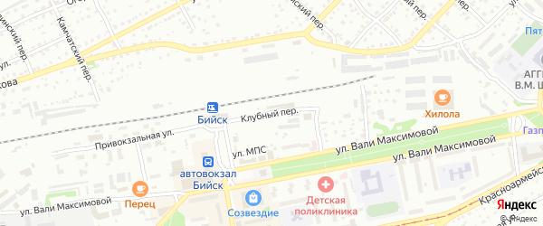 Клубный переулок на карте Бийска с номерами домов