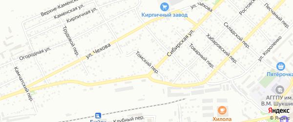 Томский переулок на карте Бийска с номерами домов