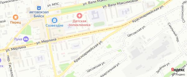 Паровозный переулок на карте Бийска с номерами домов