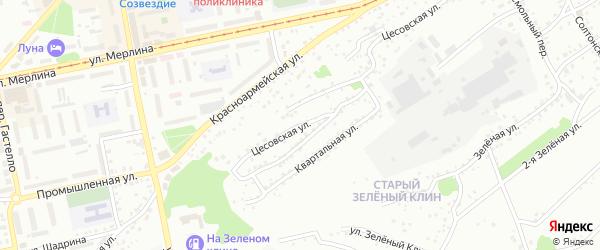 Цесовская улица на карте Бийска с номерами домов