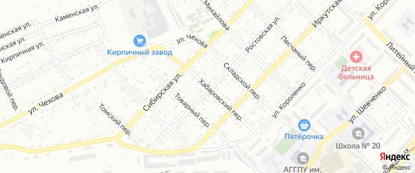 Хабаровский переулок на карте Бийска с номерами домов