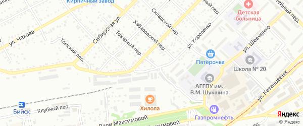 Товарный переулок на карте Бийска с номерами домов