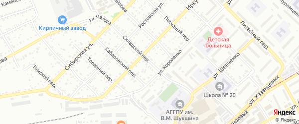 Складской переулок на карте Бийска с номерами домов