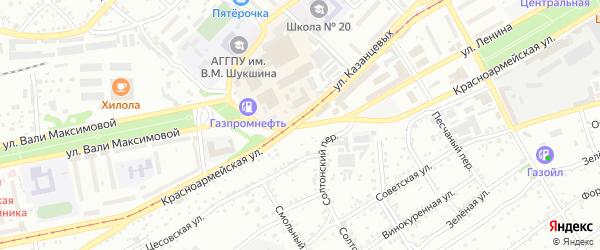 Красноармейская улица на карте Бийска с номерами домов