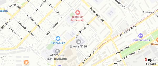 Песчаный переулок на карте Бийска с номерами домов
