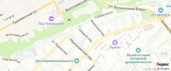 Средний переулок на карте Бийска с номерами домов