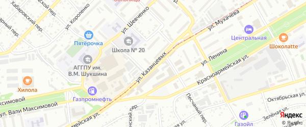 Улица Максима и Николая Казанцевых на карте Бийска с номерами домов