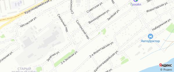 Зелёная улица на карте садового некоммерческого товарищества Просвещенца с номерами домов