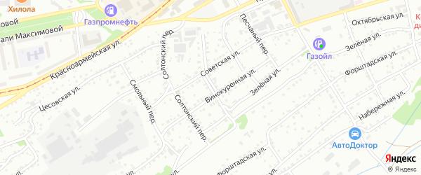 Совхозный переулок на карте Бийска с номерами домов